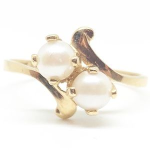 10k Yellow Gold Genuine Vintage Pearl Ring